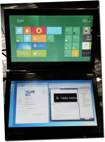 Windows 8 experience on top panel with Windows 7 visual experience on the lower touch panel.